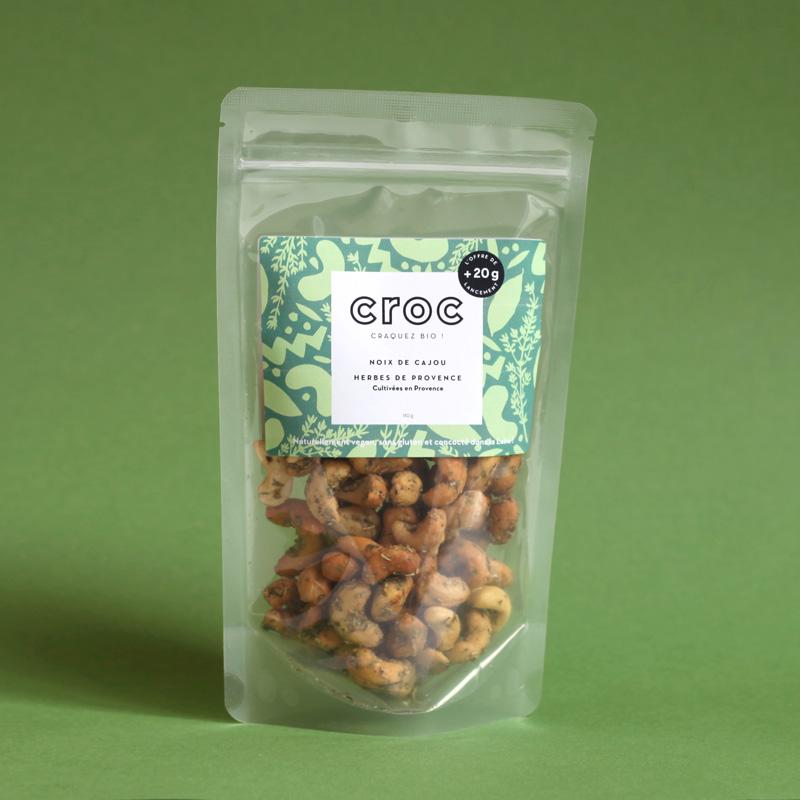 noix de cajou herbes de provence noix de cajou bio et éthique croc snack grossiste noix de cajou bio doypack